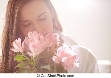 cheirando, flores