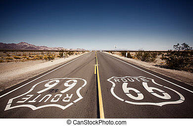 Famous Route 66 landmark on the road in Californian desert