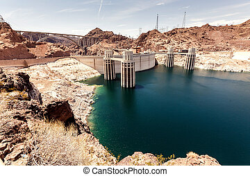 Hoover Dam in the Black Canyon of the Colorado River,...