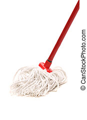Closeup of red mop for cleaning Isolated on a white...