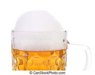Mug of beer with froth.