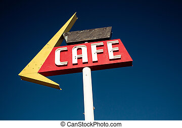 Cafe sign along historic Route 66 in Texas Vintage...
