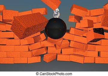 Wrecking ball braking down a brick wall, 3d render