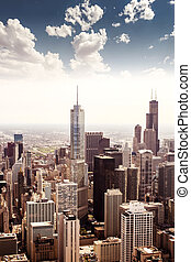 Chicago, Illinois in the United States City skyline with...