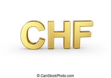 Golden CHF currency shortcut on white - Golden 3D CHF...