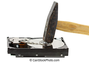 Hammer and an External Hard Drive - A Hammer about to smash...