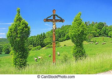 Wayside cross in Germany - Wayside cross on the Swabian Alb,...