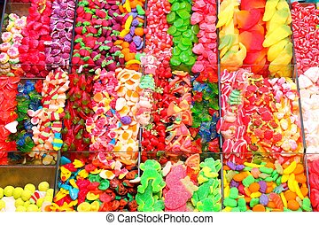 Colorful sweets - Confectionery shop at Boqueria market in...