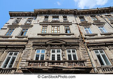 Bucharest, capital city of Romania Old apartment building...
