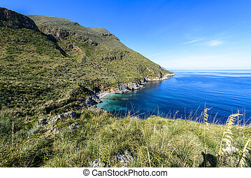Zingaro Nature Reserve, Sicily, Italy in a Summer day