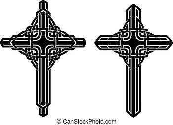 celtic cross - two variations of ornamental celtic cross,...