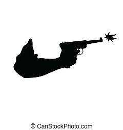 arma de fuego, mano, vector