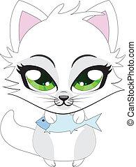 Cute little white kitten
