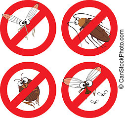 Pests in Stop Sign - Cartoon mosquito, cockroach, flea and...