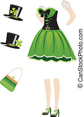 Leprechaun girl dress - Green leprechaun girl dress with...