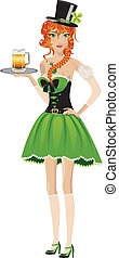 Leprechaun girl with beer - Beautiful red haired leprechaun...