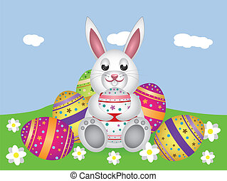 White bunny with Easter eggs