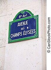 Paris avenue - Paris, France - Champs Elysees street sign....