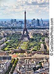 Eiffel Tower, Paris - Paris, France - aerial city view...