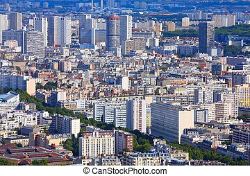 Paris, France - aerial metropolis view with skyscrapers.