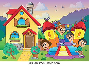 Children playing near house theme 3 - eps10 vector...