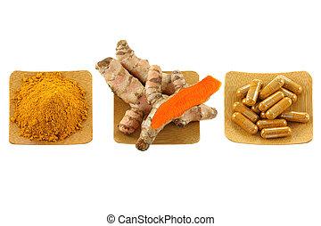 curcuma, rhizome, poudre, capsules