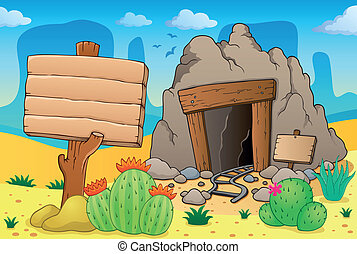 Desert with old mine theme 7 - eps10 vector illustration.