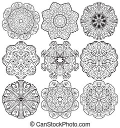 Set of round lacy ornaments - Collection of round lace hand...