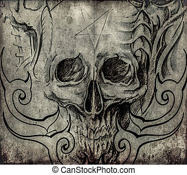 Tattoo art, sketch of skull with tribal designs