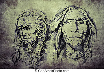 Tattoo sketch of American Indian elders