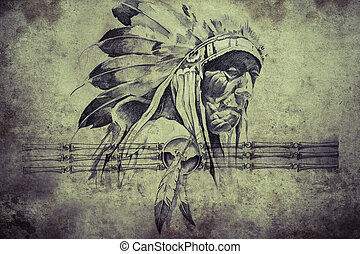 Tattoo sketch of American Indian tribal chief warriors