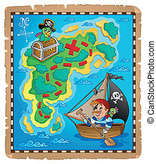 Treasure map topic image 3 - eps10 vector illustration.