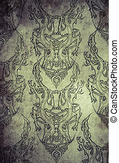 Tattoo pattern with Celtic fret over vintage paper