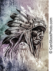 Sketch of tattoo art, indian head over colorful background