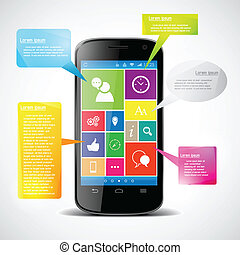 Touchscreen smartphone with colorful icons. Vector...