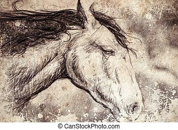 Bosquejo, hecho, digital, tableta, caballo, cabeza