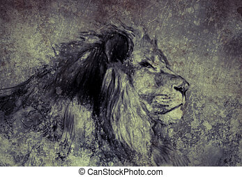 Illustration made with digital tablet, lion in sepia