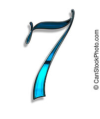 seven, illustration of  number with blur chrome effects over white background