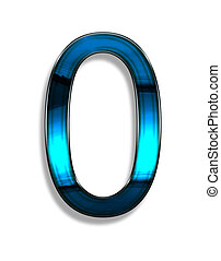 zero, illustration of number with blue chrome effects on...