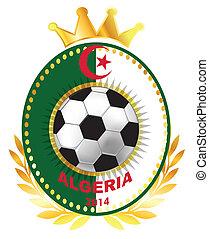 Soccer ball on Algerian flag
