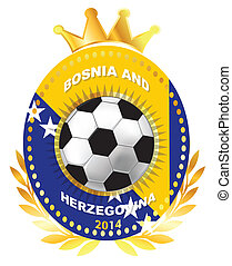 Soccer ball on Bosnia and Herzegovina flag