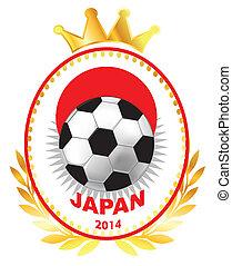 Soccer ball on Japan flag