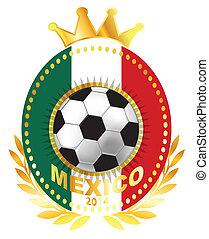 Soccer ball on Mexico flag
