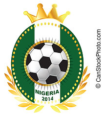 Soccer ball on Nigeria flag