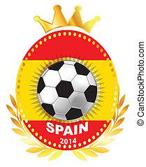 Soccer ball on Spain flag