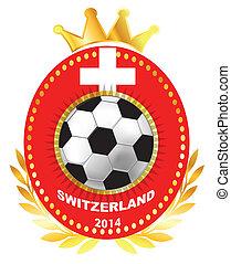 Soccer ball on Switzerland flag