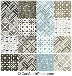 geometric seamless patterns: squares and stripes - brown and...