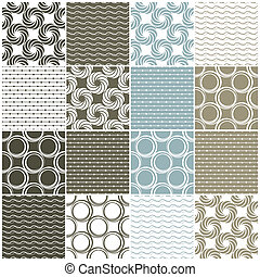 geometric seamless patterns: dots, circles and waves - brown...