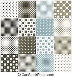 geometric seamless patterns: squares - brown and blue...