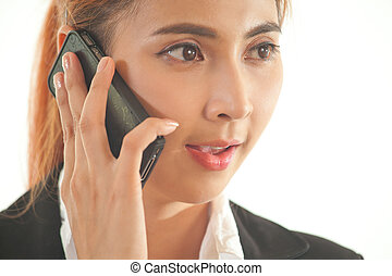 Business woman on the phone - Closeup of Asian Business...